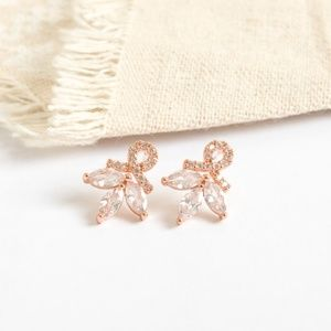 Alicia Bonnie Encircled Flowers Earrings Rose Gold